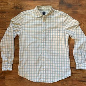 Gap Blue/White Plaid Casual Long Sleeve Button-Up